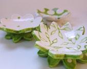 Lime green pottery Dish Set :) 3 ceramic serving flowers, whimsical hostess gift, candleholders, polka-dot ring dish, leaf pattern