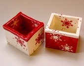 whimsical Scandinavian ceramic Salt & Pepper Dishes-- 2 snowflake pottery bowls :) happy RED winter kitchen decor