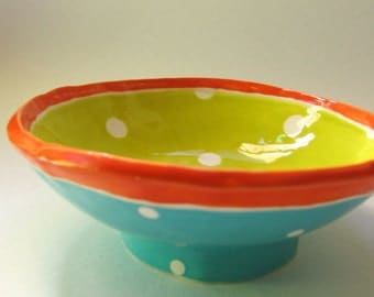 Colorful pottery Bowl with whimsical polka-dots hand-painted Chartreuse, tangerine Orange & Turquoise Snack Dish, serving bowl