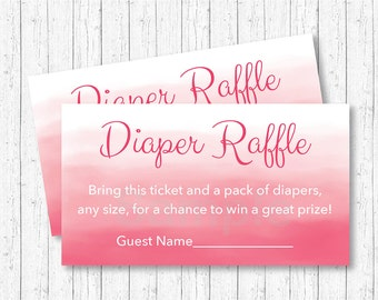Pink Watercolor Diaper Raffle Tickets / Watercolor Baby Shower / Pink Ombre / Baby Girl Shower / INSTANT DOWNLOAD A108