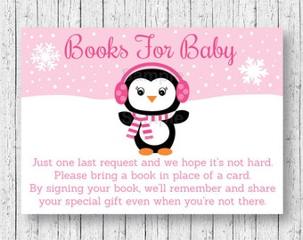 Pink Penguin Baby Shower Book Request Cards / Penguin Baby Shower / Winter Baby Shower / Snowflake Baby Shower / INSTANT DOWNLOAD A141