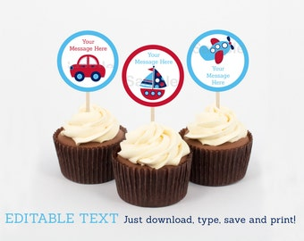Cute Vehicle Cupcake Toppers / Vehicle Baby Shower / Car / Truck / Sailboat / Airplane / Baby Shower Decor / INSTANT DOWNLOAD Editable PDF