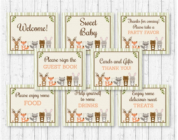 Woodland Animal Baby Shower Party Signs Woodland Baby Shower 8