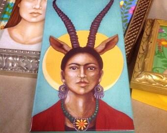 Frida Kahlo- PRINT of Original Painting on Wood Block - Mexican Folk Art by Tamara Adams