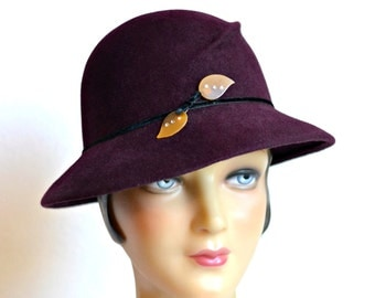 Women's Felt Hat with Vintage Hat Pin - Hand Blocked Felt Hat
