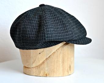 Men's Newsboy Cap in Vintage Charcoal Wool - Men's Newsboy Hat