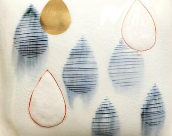 Golden Rain drop - porcelain wall pillow