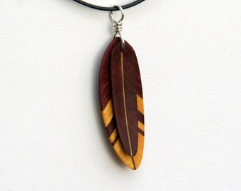Handcarved Yellowheart and Purpleheart Wood Double Leaf / Feather Pendant  J160220