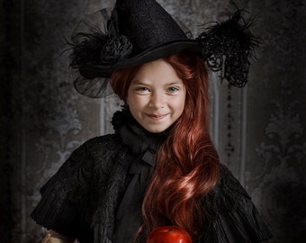 Witch Hat Halloween Costume Accessory Child Made to Order Millinery Black velvet black Lace Feathers Flowers Veil