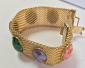 Sarah Coventry Mesh Bracelet with Six Mulitcolor Lucite Cabochons - Designer Signed - Gold Tone
