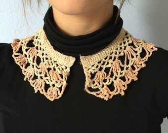 Antique Crochet Collar - 1940s Lace- Pink and White Unique Accessory