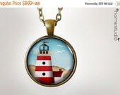 ON SALE Lighthouse BRN : Glass Dome Necklace, Pendant or Keychain Key Ring. Gift Present metal round art photo jewelry HomeStudio. Silver Br
