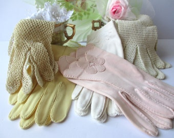 Vintage Glove Collection of Five - Pastel and Lacy