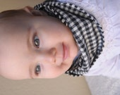 Houndstooth Black and Cream White Plaid Baby Infinity Scarf, Black and White Plaid, Baby Scarf Bib, Single Loop, Infant Size