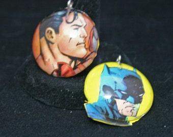 Batman Pendant Recycled Comic Book Image Batman Glass Pendant