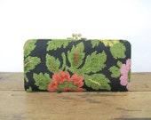 vintage 1970s black floral clutch wallet with kisslock change purse - chenille, tapestry, carpetbag, jacobean design