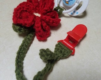 Crochet flower pacifier or teething toy holder
