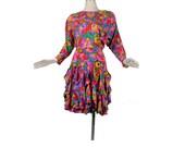 Vintage 80s Dress - 80s Silk Dress - Neon Dress - Floral Dress - Pink Purple Green Yellow - Dolman Sleeve - Ruffled Dress - Gillian  S Small
