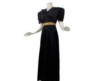 SALE Vintage 40s Gown - Vintage 40s Dress - Black 40s Gown - Black Gold - Black 40s Dress - Black Gown - Gold Belt - 40s Noir - Art Deco -