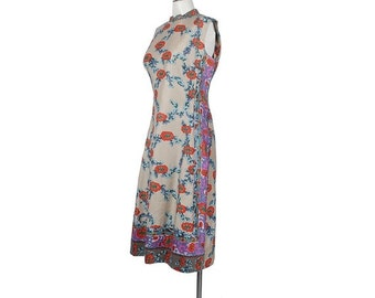 SALE Vintage 60s Dress - Vintage 70s Dress - 60s Shift Dress - 70s Shift Dress - Ethnic Print - Asian Print - Orange Purple Tan - Large - L