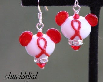 BACK 2 SCHOOL SALE Think Red Awareness Ribbon Disney Inspired Mickey Minnie Mickey Mouse Style Sra Lampwork DeSIGNeR Earrings Heart Disease