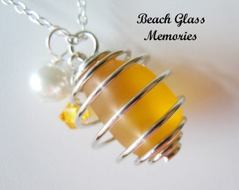 Beach Glass Bauble Necklace Golden Yellow Sea Glass Necklace Seaglass Wire Wrapped Cage