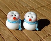 Little Snowmen Handmade LAMPWORK Bead Set in Sky Blue and Turquoise