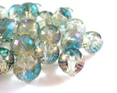 10 Aquamarine Glass Bead Rainbow Electroplated Transparent Faceted Rondelles 8x6mm - 10 pc - G6065-RBAQ10