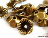 20 Antique Bronze Bead Cap Flower Plated Alloy LF/NF 10x3mm - 20 pc - F4127BC-AB20