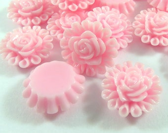 SALE - 25 Pink Cabochon Beads Resin Flower Bead 13mm - No Holes - 25 pc - CA2012-P25