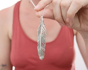 Feather pendant. Sterling silver feather pendant. Silver feather, feather necklace, silver feather pendant, boho pendant, statement necklace