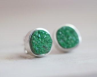 Gretel earrings. Sterling silver earrings with drusy Uvarovite Garnet. Uvarovite earrings, Uvarovite studs, Druzy Green studs, Drusy studs.