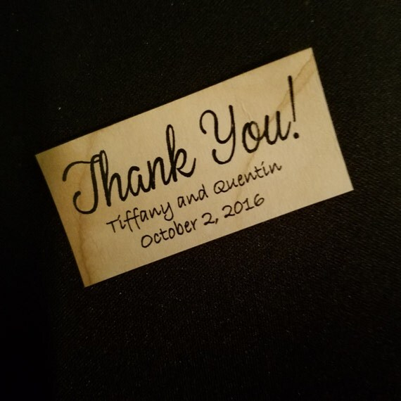 Thank You Sticker Personalized Wedding Shower Favor 1 x 2 STICKER choose your amount