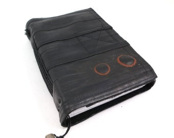 Journal, bike tube, recycled vegan handmade blank, medium vlack felt linen velcro closure