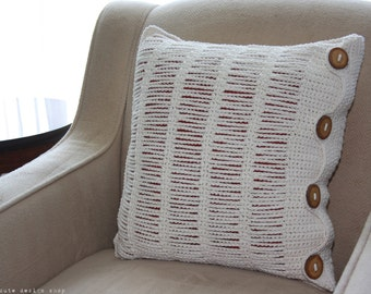CROCHET PATTERN - Peekaboo Ladders Accent Pillow - Instant Download (PDF)