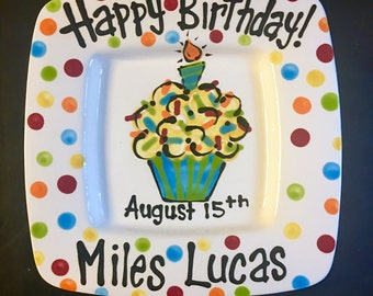 Hand Painted Square Birthday Plate - Colorful Cupcake