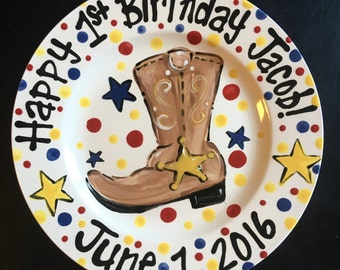 Hand Painted Personalized Cowboy Western theme Birthday Plate
