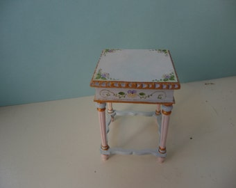Delicate One Inch Scale Pansies Side Table