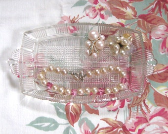 divided glass dish . Art Deco Glass Tray . divided Glass plate . Art Deco Dish . Jewelry plate