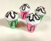 "American Girl Milk Shake - 18"" doll food, ice cream, chocolate, mint, strawberry, cherry"