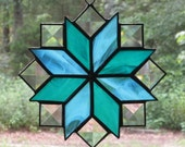 Stained Glass Suncatcher - 8 Point Star Quilt pattern in Light Teal and Light Aqua Blue