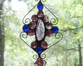 Stained Glass Suncatcher - Purple Agate, Wire, Purple Square Jewel, and Purple and Blue Nuggets