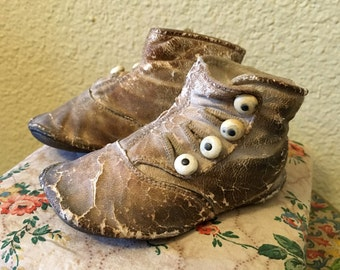 Antique High Button Victorian Baby Child's Shoes Brown Worn with Buttons