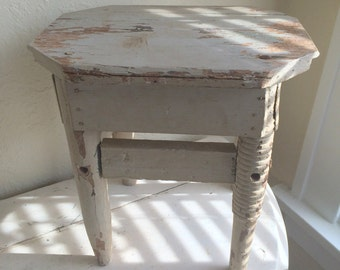 Antique Footstool Aqua Chippy Gray Seaside Cottage Small