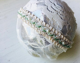 Gracelyn - Mint Cream Lace Headband -  Vintage Inspired - Pearls - Girls Newborns Baby Infant Adults