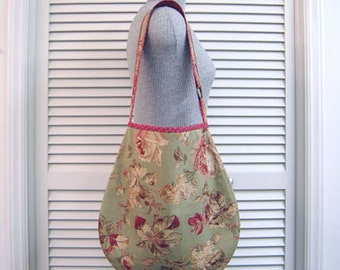 SHOP CLOSING Sale-Fall Colors Fabric-Hobo/Slouch/Shoulder Bag Purse-Roomy Inside + Space for Tablet-Handmade-Original Pattern-Light Weight