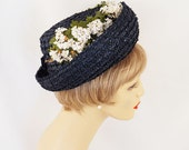 1960s Hat Navy Blue Straw Breton with Daisies by Evelyn Varon Sz 22