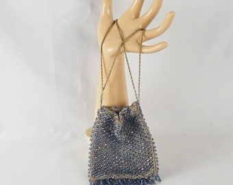 Vintage 1920s Purse Flapper Style Blue Beaded Drawstring and Fringed Handbag