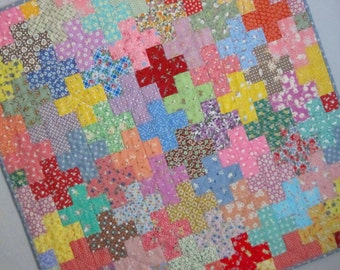 SIMPLE MATH Plus Sign Quilt from Quilts by Elena Bold Colorful Vintage 30s Reproduction Fabrics