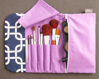 Gifts for Travelers. Best Makeup Bag for Travel. All-in-One Make Up Bag & Brush Roll Navy. Travel Makeup Organizer. Compact Makeup Brush Bag